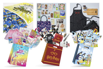 The top-selling showbags for Bensons Trading (Bluey, Harry Potter and Barbie) and for Chicane Showbags (Bertie Beetle, The Australian Women's Weekly and My Kitchen Rules).