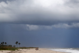 The largely deserted Vero Beach in Florida on Sunday.