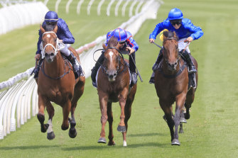Anamoe (right) sets sail for the post under Rachel King in the Todman Stakes.