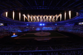 Fireworks are seen during the closing ceremony of the Tokyo 2020 Olympic Games.