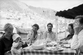 Marianne Ihlen with her baby son, Axel Jensen, with Leonard Cohen, an unidentified friend and George Johnston and Charmian Clift on Hydra in October 1960.