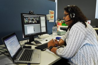 Maths and science teacher Mahezabeen Tariq teaches year 10 maths students at Aurora College in Sydney's north via a virtual classroom.