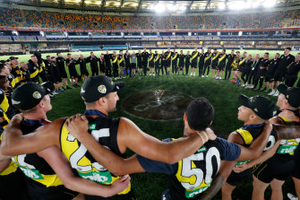 Richmond celebrate their third premiership in four years earlier this month.