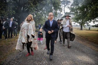 Aunty Geraldine Atkinson of the First Peoples' Assembly with acting Premier James Merlino and (right) Marcus Stewart at the launch of the Yoo-rrook Justice Commission earlier this year.