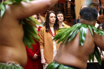 New Zealand Prime Minister Jacinda Ardern is welcomed during a service to make a formal apology to the Pacifika people.