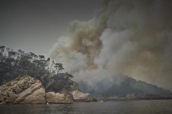 Smoke at Eden, on NSW's South Coast, on Thursday.