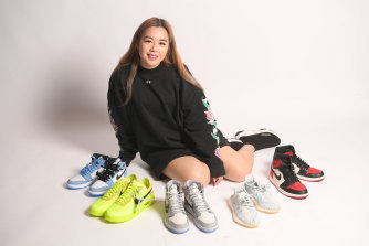 Fast money ... Sneaker trader Ivana Lim with some of her collection.