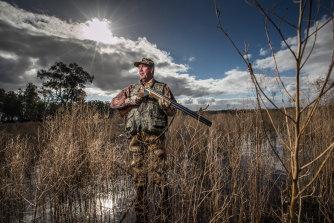 Duck hunter Peter McKenzie at Lake Leaghur wildlife reserve.