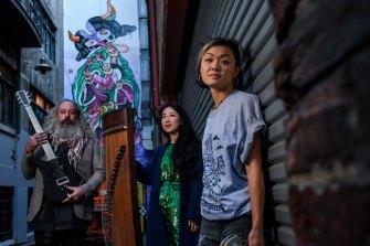 Musicians Ben Andrews and Mindey Meng Wang and artist Jaz Mishap.