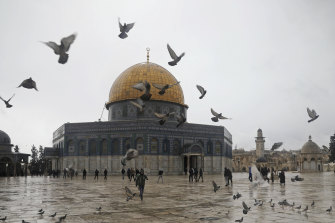The Dome of the Rock Mosque in the Al Aqsa Mosque compound in Jerusalem's old city.