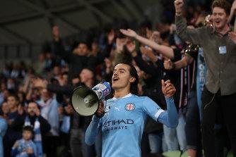 City's Stefan Colakovski has plenty to shout about after the big win.