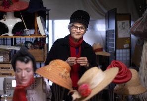Milliner Serena Lindeman in her studio in the Nicholas Building.