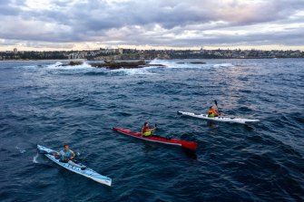 The trio training off Coogee in preparation for their epic paddle.