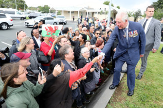 Prince Charles meets members of the public after a wreath laying ceremony at Mt Roskill War Memorial on Monday.