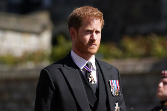 Prince Harry arrives for the funeral of his grand father Prince Philip, Duke of Edinburgh, last month.