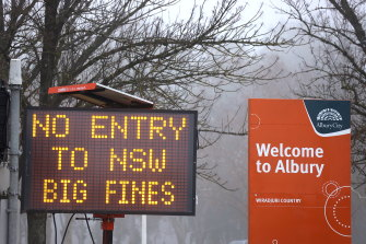 The border between NSW and Victoria is set to close at 11.59pm on Tuesday.