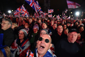 Brexit supporters celebrate in Parliament Square on January 31.