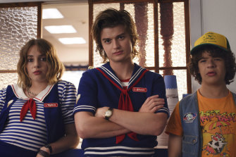 Breakout star Maya Hawke, left, with Joe Keery and Gaten Matarazzo, in Stranger Things.