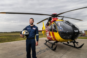 Kane Treloar is director of lifesaving services as well as a winch operator for the helicopters.