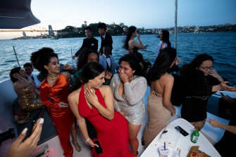 The combined group of students from Blacktown Girls and Blacktown Boys high schools celebrated on Sydney Harbour.