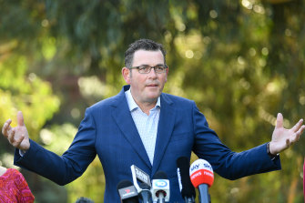 Premier Daniel Andrews addresses the media on Tuesday.