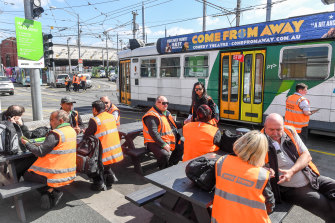 Melbourne tram drivers on strike at the Malvern tram depot earlier this year.