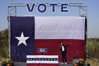 Democratic vice presidential candidate Senator Kamala Harris speaks at a campaign in Fort Worth, Texas.