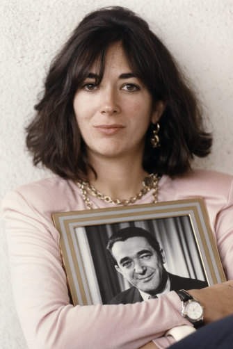 Ghislaine Maxwell with a photo of her father, Robert, in 1991.