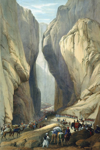 A depiction by army surgeon James Atkinson of British troops entering Afghanistan through the Bolan Pass in 1839. They were massacred in a retreat through the Khyber Pass three years later.