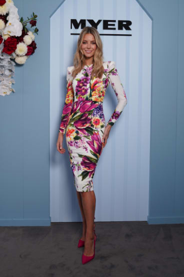 Last hurrah ... Jennifer Hawkins in Alex Perry for her last day as the face of Myer.