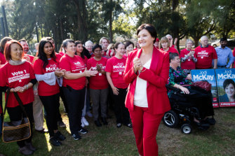 Jodi McKay announces her bid to lead the NSW Labor Party surrounded by her supporters in her electorate at Homebush West.