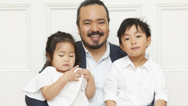 "Adam Liaw with his children Anna and Christopher who said, ""I like that daddy always plays with me."""
