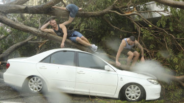 Tourists pose for selfies on top of a damaged car after Tropical Cyclone Marcus hit Darwin's CBD.