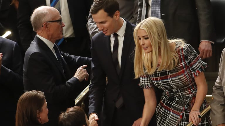 President Donald Trump's son-in-law and daughter Jared Kushner and Ivanka Trump arrive before the State of the Union address.