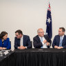 rime Minister Scott Morrison signs the Murray Darlin Basin Plan Intergovernmental Agreement with State Premiers (L-R) Gladys Berejiklian (NSW), Daniel Andrews (VIC), Steven Marshall (SA), Annastacia Palaszczuk (QLD) and Andrew Barr, Chief Minister of the ACT during the Council of Australian Governments (COAG) meeting at the Cairns Convention Centre in Cairns, North Queensland, Friday, August 9, 2019. (AAP Image/Marc McCormack) NO ARCHIVING