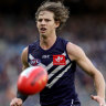 Purple patch: Nat Fyfe has had a run of good form, and polled 8 votes for his round 13 performance in Fremantle's win over Port Adelaide at Optus Stadium in Perth.