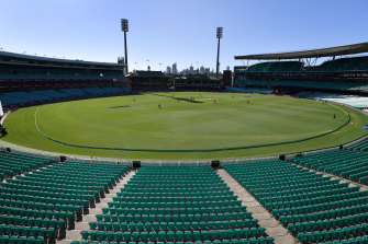 The empty stands during the ODI between Australia and New Zealand in Sydney on March 13.