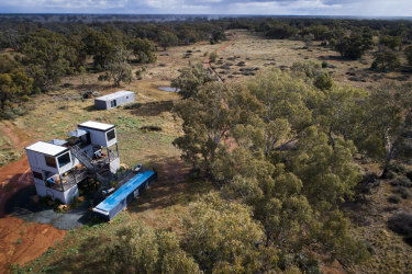 TRAVEL: Callubri Station in Nyngan grows wheat and wool and have now added high end accomodation and event spaces. Luxury accomodation made from converted shipping containers on the property. 18th June  2021, Photo: Wolter Peeters, The Sydney Morning Herald.