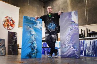Dayne Beams in his Bayswater art workshop.