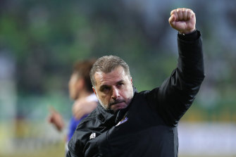 Ange Postecoglou celebrates after a Yokohama F. Marinos win.