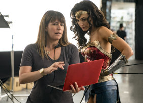 Director Patty Jenkins (left) with actress Gal Gadot on the set of Wonder Woman 1984.