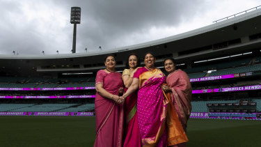 (L-R) Anoop Johar, Shantha Viswanathan, Kalyani Mani and Aparna Tijoriwala raising awareness for breast cancer on Jane McGrath Day at the SCG.