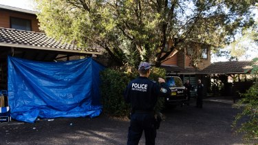 Police raid a home in Chiswick Street, Greenacre, on Tuesday as part of an anti-terror investigation.