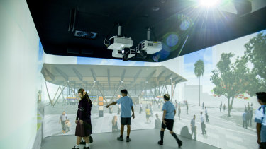 The virtual reality fly-through room shows visitors how Cross River Rail will impact the city.
