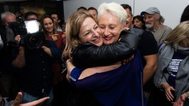 Dr Kerryn Phelps at North Bondi SLSC celebrating her win.