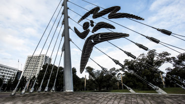 The Millenium Athlete was one of two artworks from Darling Harbour that were relocated to Sydney Olympic Park.