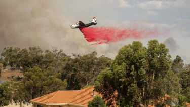 An aerial tanker drops retardant on the fire ground at Shady Hills Estate on Thursday.