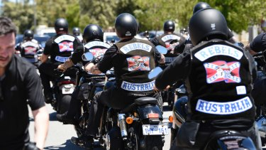 Hundreds of bikies leave the funeral home in North Perth on their way to Pinnaroo Valley Memorial Park.