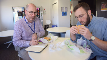 WAtoday political reporter Nathan Hondros and homepage editor Cameron Myles sample the Rebel Whopper.