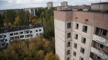 The forest surrounding Pripyat is slowly reclaiming the town.